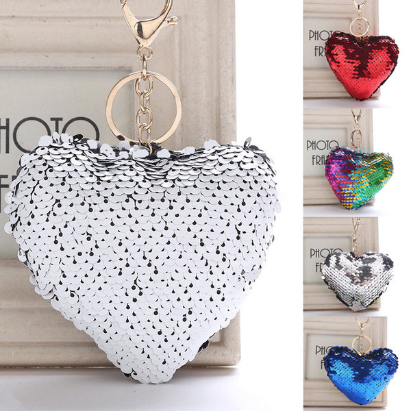 New Styles Unique Sequin Heart Keychain Bag Car Pendant Accessories Pop Key Rings 9 Styles Support FBA Drop Shipping H580Q