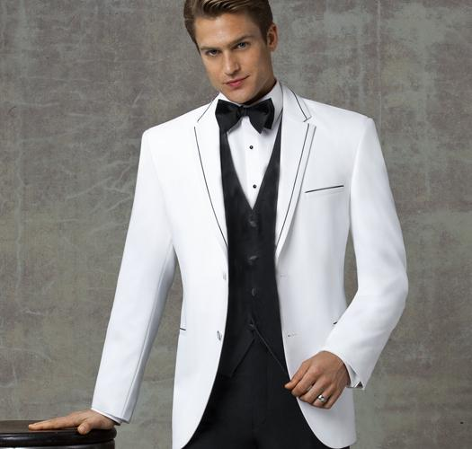 custom made white men suits wedding black edge blazer stars stage show formal tuxedos prom blazer 3 pieces jacket+pants+vest, White;black