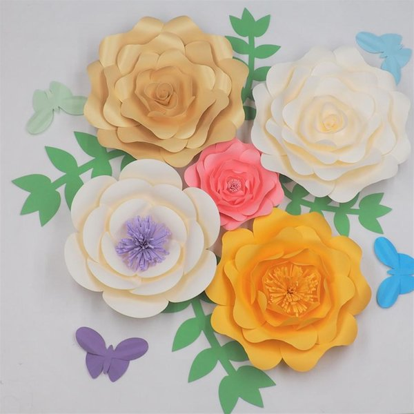 DIY Giant Paper Flowers Backdrop With Leaves Butterflies Half Made Paper Flower For Wedding & Event Baby Nursery Deco