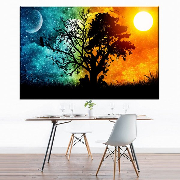 modern abstract canvas art sun day and moon night canvas pictures oil art painting for livingroom bedroom decoration print No Frame