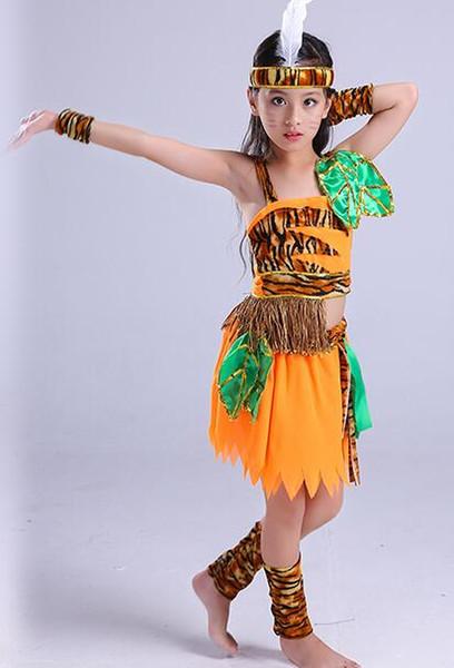2018 Nuovo stile bambini Cosplay Costume tribale primitivo Costume selvaggio Ragazzi e ragazze Danza Vestiti congiunti