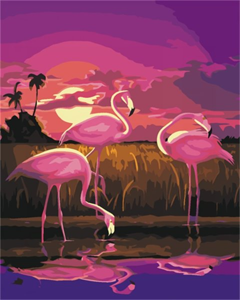 16x20'' DIY Paint On Canvas drawing By Numbers Kits Sunset the Flamingos at Beach Art Acrylic Oil Painting Frame For Adults