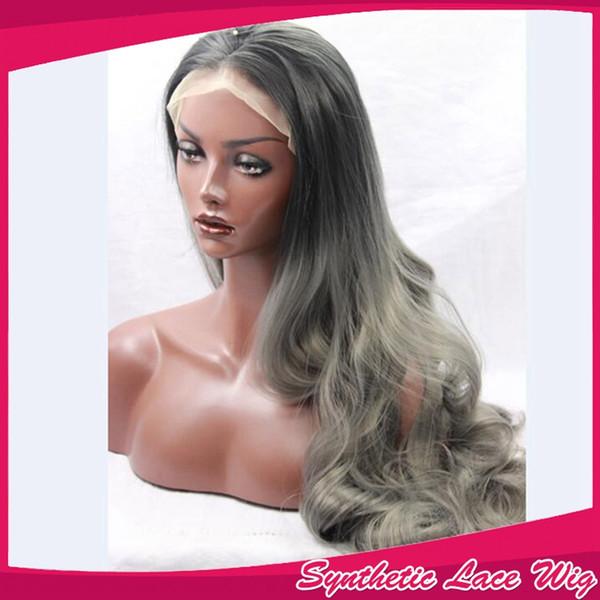 Noir Ombre Cheveux gris foncé Perruque synthétique Lace Front Wavy Haircuts 150 Densité 10-26 pouces en stock Perruques synthétiques pour les femmes noires