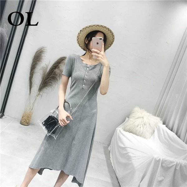[OL]2018 Summer Wear Women New Korean Edition Office Lady Short Sleeve O-neck Solid Color Button Cotton Longuette Dress H664