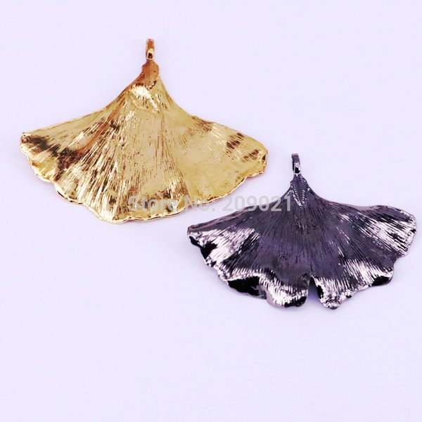 6Pcs Fashion Mix Color Plating Nature Ginkgo leaves Charm Pendant For DIY Women Jewelry Accessories