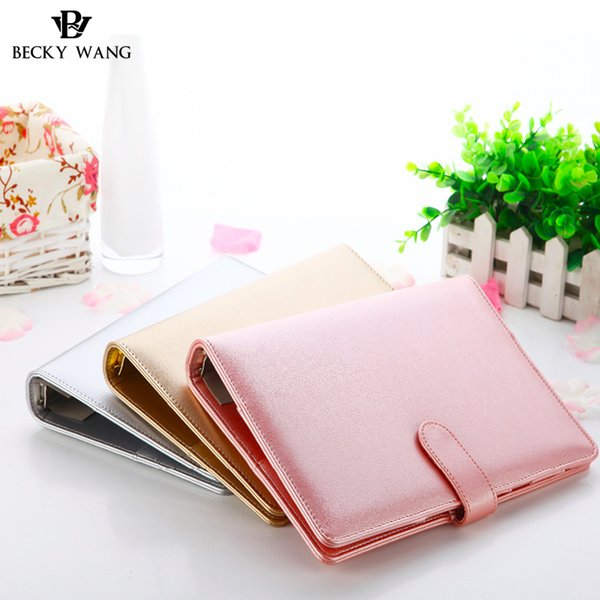 Rose Gold Silver New Notebook A5 Leather Loose-leaf Notepad Time Planner Series Diary Memo Travel Journal Agenda 2018