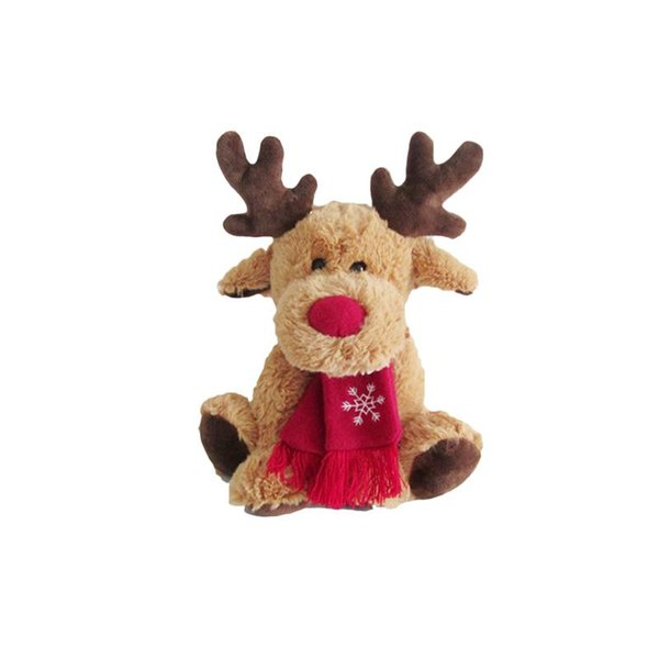 1pc Fluffy Christmas Stuffed Elk Doll Toy Sofa Table Desk Decoration Ornament for Office Living Room Cafe Restaurant