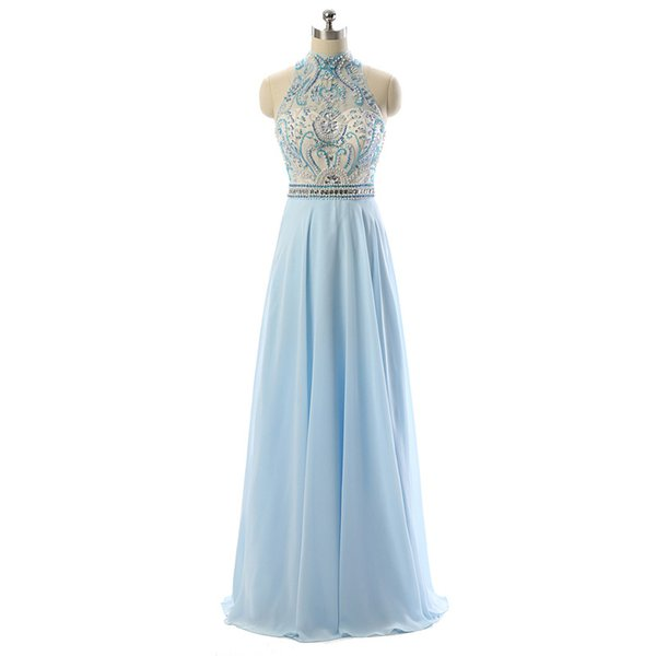 2018 Summer Light Sky Blue Chiffon Prom Dresses Backless Sexy Sheer with Beading Sequins Evening Dresses