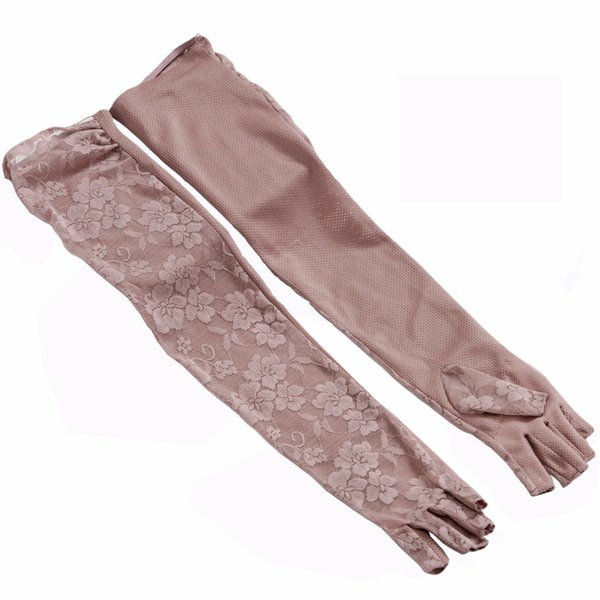 women black arm long gloves half finger summer mesh floral lace mittens ladies beige sunscreen driving glove guantes negro mujer verano