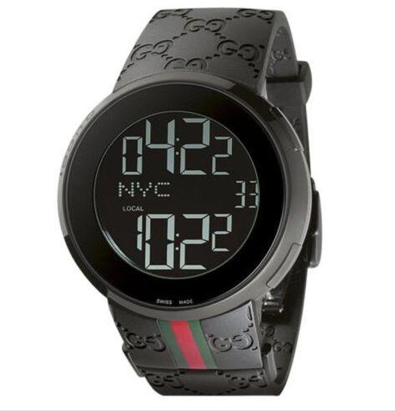 Роскошные наручные часы 2018 новый цифровой резиновый ремешок мужские 44 мм часы Ya114207 кварцевые мужские часы мужские часы высокое качество