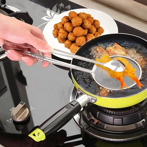 Top Cooking Tool Food Clip Tong Stainless Steel Drain Oil Fried Food Strainer BBQ Salad Buffet Tool Kitchen Frying Mesh Colander