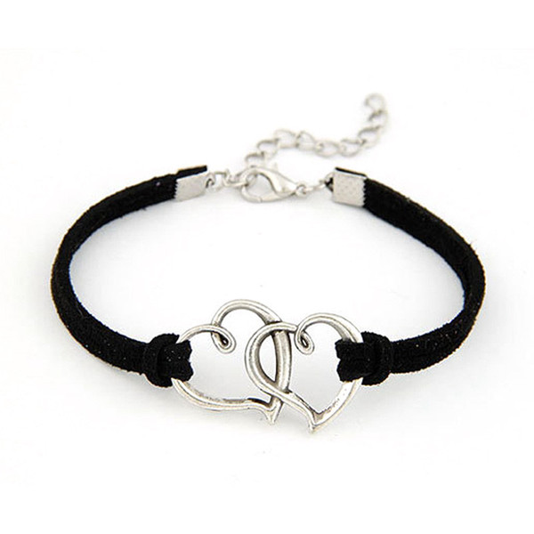 AFSHOR 2018 Europe Hand Made Love Heart Bangles For Women Alloy Rope Weave Leather Suede Wristband Charm Bracelet Adjustable Free Shipping