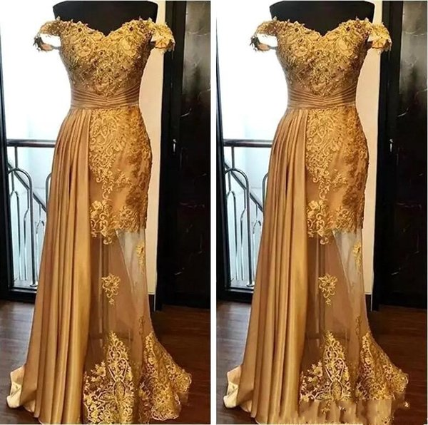 best selling 2019 Off The Shoulder Long Evening Dresses Arabic Golden Tulle Applique Ruched Beaded Floor Length Pageant Formal Party Gowns Prom BA9946
