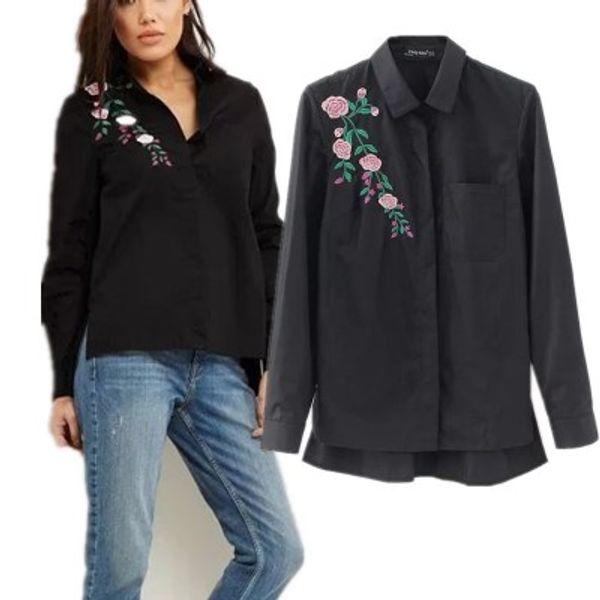 Le donne retrò fiore ricamo a righe camicetta a maniche lunghe camicie nere abbassa il colletto della marca top donna blusas LT1511