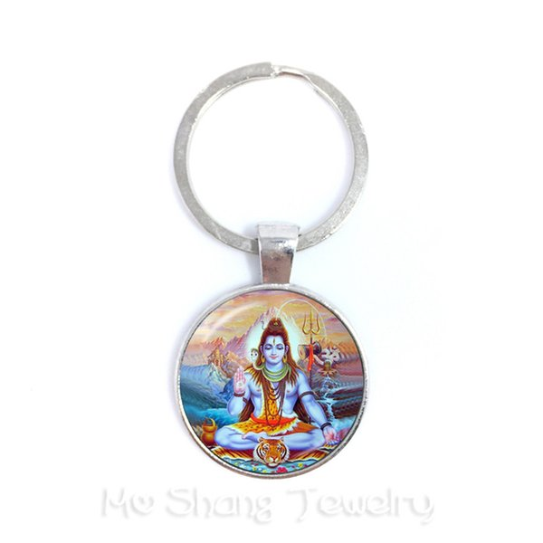 New Fashion Glass Time Gem Keychain 25mm Ganesha Buddha Elephant Pendants DIY Men Jewelry Car Key Holder Souvenir For Gift