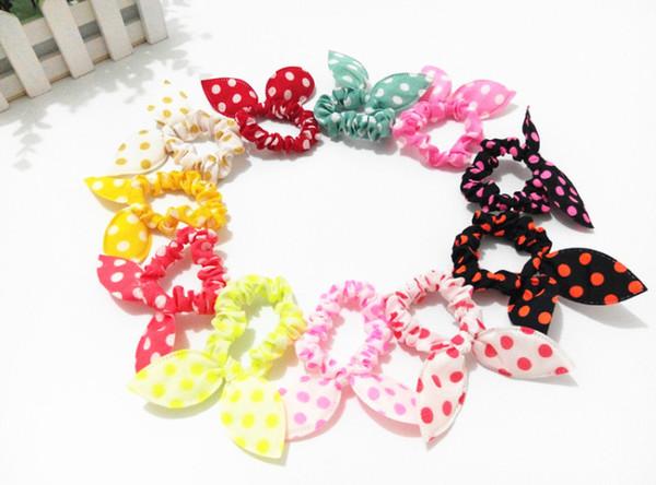 Wholesale Hot sale Children women Hair Band Cute Polka Dot Bow Rabbit Ears Headband Girl Ring Scrunchy Kids Ponytail Holder Hair Accessories
