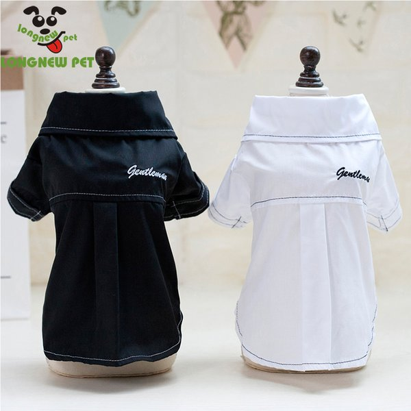 New Best Selling Spring Summer Cotton Pet Dog Apparel Simple Puppy Shirts Plain Small Dog Clothes Black White