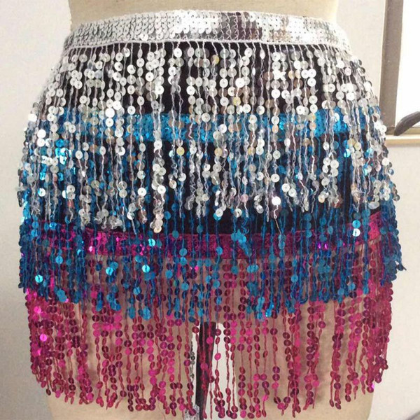 Women Belly Dance Hip Scarf Performance Outfits Skirt Festival Clothing Tassels Fringes Hip Scarf W2