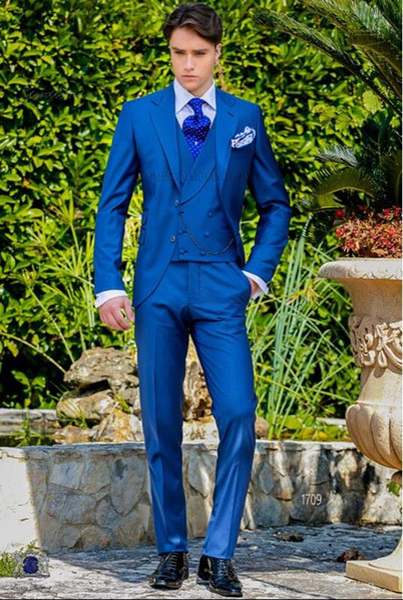 Latest Coat Pant Designs Royal Blue Italian Men Suit Classic Gentle Tuxedo Prom Blazer Custom 3 Piece Jacket Masculino DC5