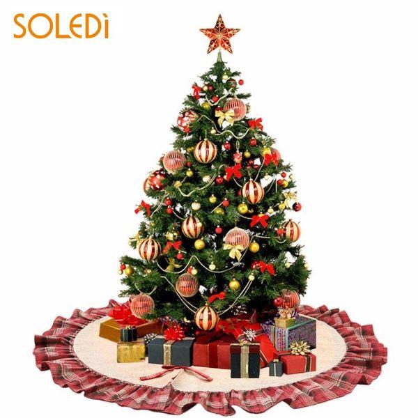 Christmas Tree Stand Christmas Tree Skirt Beautiful Christmas Tree Dress Home Decoration Buffalo Plaid Party Decor with Bowknot