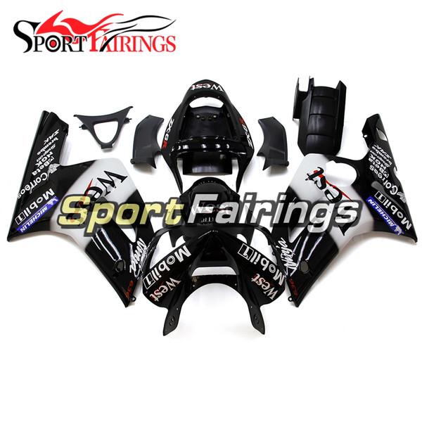 Kit nero completo per carenatura bianco per Kawasaki ZX6R ZX-6R Anno 03 04 2003 - 2004 Carrozzeria per moto ABS per iniezione Sportbike