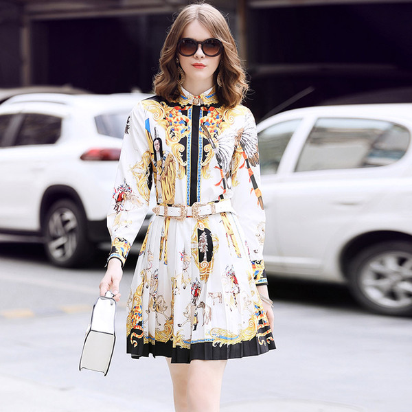 HIGH QUALITY Women Lapel Neck Figure Print Blouses + Pleated Skirt Fashion Office Lady Work Shirts Suits 2018 Designer Runway Two Piece Sets