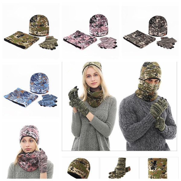 Camouflage Outdoors Beanies Knitting Keep Warm Winter Hat With Glove Fashion Soft Cashmere Wind Proof Cap Set MMA927