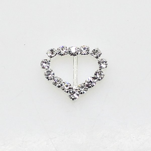 Hot Fashion 50PCS/Lot 17mm Heart Buckle Silver Full of crystal Wedding Decoraion Invitation Ribbon Jewelry Accessory wholesale