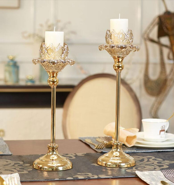 Flower shape Modern Iron Crystle candle holder, 1-arm candelabra with 1 free candles, decorative candle stick CD05