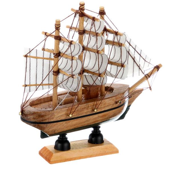 Wholesale Brand New 14cm Hand-made Pine Wooden Sailing Craft Ship Model Home Decor 5 Style Random