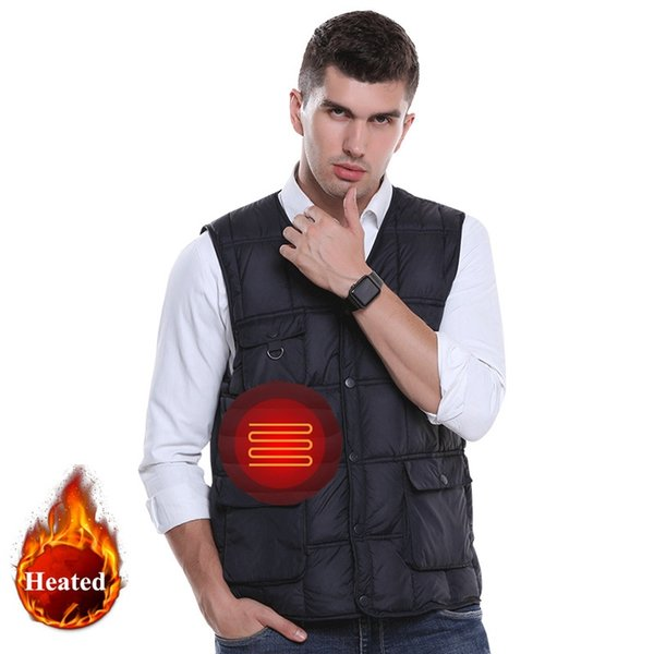 Men USB Infrared Heating Vest Winter Outdoor Jacket Electric Thermal Waistcoat Clothing men Winter USB heated cotton clothes