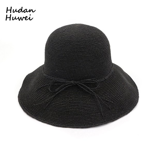 061c3622448 Women Woven Straw Bucket Hats Foldable Sun Hat Handmade Crochet Hat Wide  Brim Vacation Cap Summer Beach Hats for Ladies GH-501
