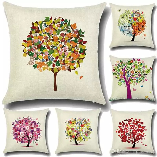 """Fashion Life Tree Decorative Linen Pillowcases Sofa Cushions Cover Pillow Case 18""""X18""""Christmas Home Decor Gift for Housewarming Party"""