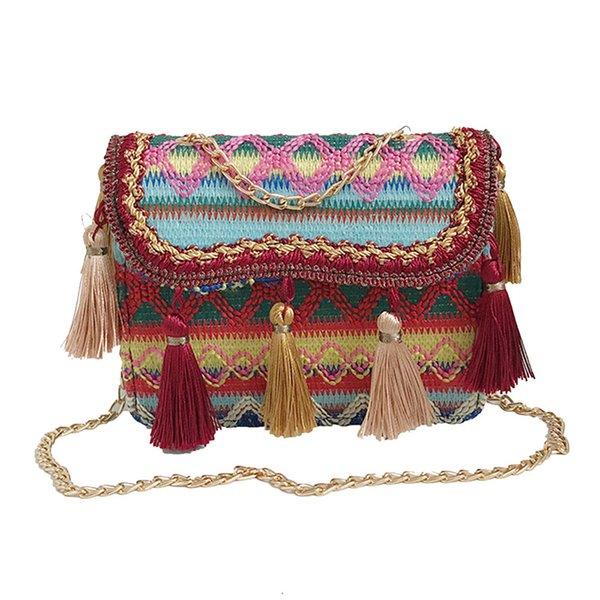 CONEED Retro Lady Tassel Couro Tecido Ombro Messenger Bag Vintage Mulheres Tecelagem Borla Bolsa de Ombro PU com painéis Aba Aug6