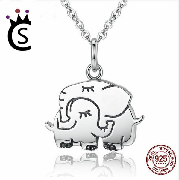 100% 925 Sterling Silver Cute Elephant Hug Pendant Necklaces Women Fine Jewelry Brincos S925 for Mother Gift
