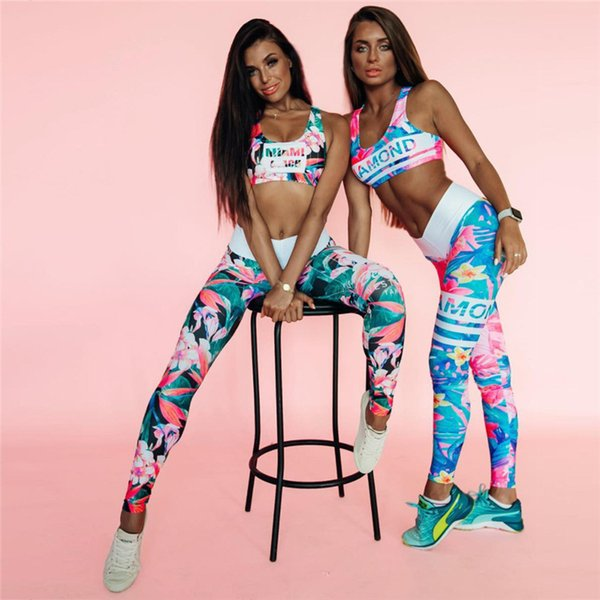 Nueva moda para mujer Impresión 3D Yoga Deportes Traje Pequeñas flores Impresión Azul y verde Delgado de cintura alta Niza chándal S-L HTS70