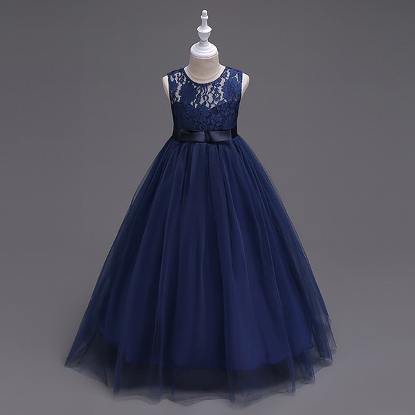 2019 Vintage Navy Blue Lace Flower Girl Dresses Lovely Clothes Ivory White Red With Bow Tutu Ball Gowns In Stock Cheap