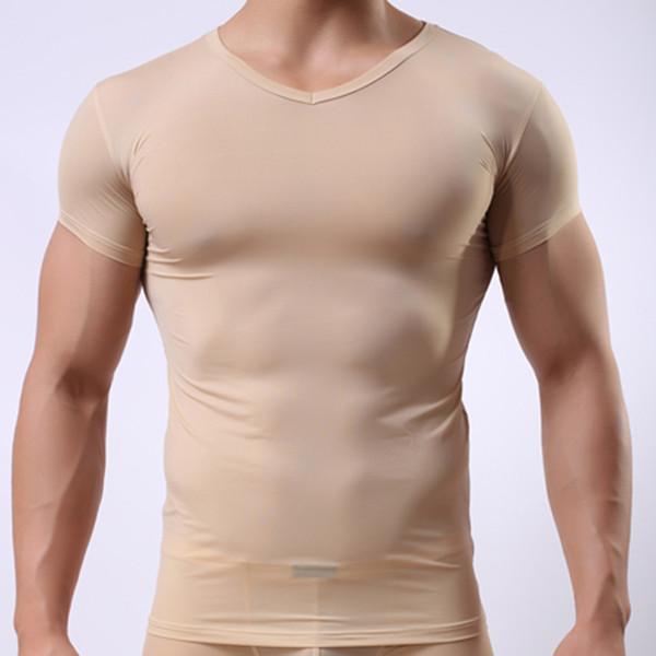 Человек Майка / мужчины лед шелк спандекс Sheer футболки / мужской нейлон сетки V-образным вырезом тонкий короткие рукава топы