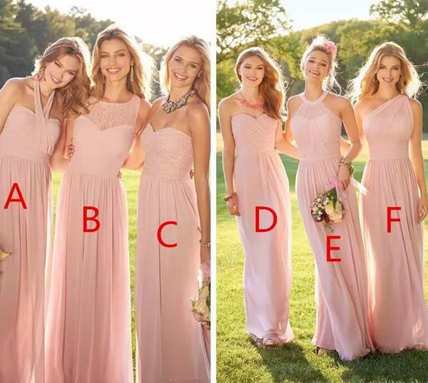 2019 Cheap Pink Pleated Long Lace Chiffon Bridesmaid Dresses Mixed Style Blush Bridesmaid Formal Honor Of Maid Ruffles Custom Wear