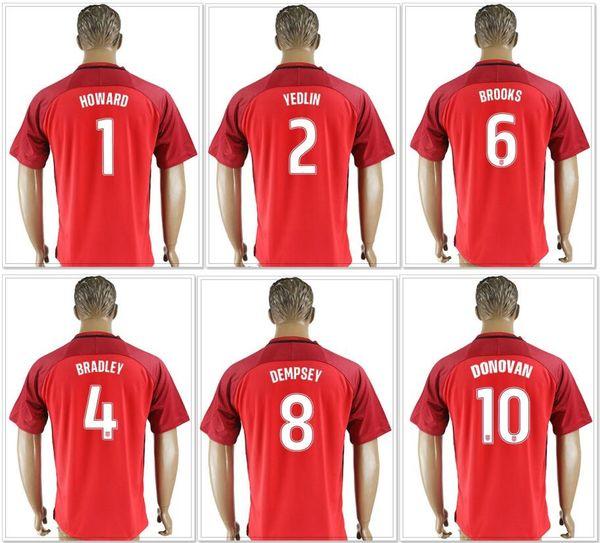 2018 USA #1 Tim Howard 2 DeAndre Yedlin 3 Omar Gonzalez 4 Michael Bradley Landon Donovan Clint Dempsey Mens Pro Soccer Jerseys Shirts Custom