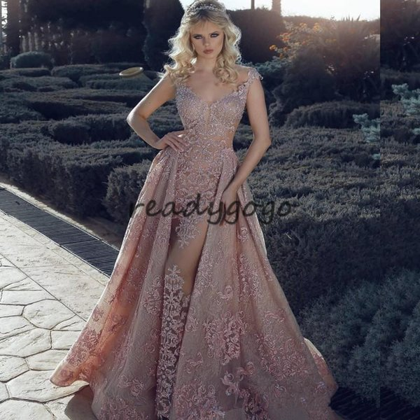 Pearl Pink Mermaid Evening Pageant Dresses with Overskirt 2018 Modest Luxury Lace Crystal Sweetheart Dubai Arabic Occasion Prom Gowns
