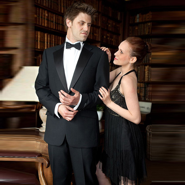 Men Suits Black Big Notched Lapel Wedding Suits Blazer Fashion Custom Made Slim Fit Formal Tuxedos Best Man Prom Evening Dress Party 2Piece
