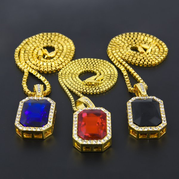 Geometric ruby Necklace Bling Iced Out Red Ruby CZ Pendant Chain 18k Gold Square Red,Black,Blue RYBY Pendant 45''30 Chain Necklace