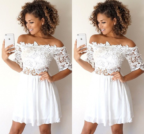White Short Homecoming Dresses Bateau Neck Off The Shoulder Half Sleeves Lace Chiffon Mini Prom Dresses Summer Autumn Party Dresses