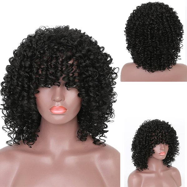 Heat Resistant Fiber Synthetic Hair Wig Black Color Africa American Female Wig New Stylish Kinky Curly Full Wig For Black Women