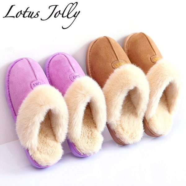Home Slippers Women Plush Bathroom Slipppers Australia Style Female House Indoor Unisex Couple Warm Fur Shoes Plus Size 35-44