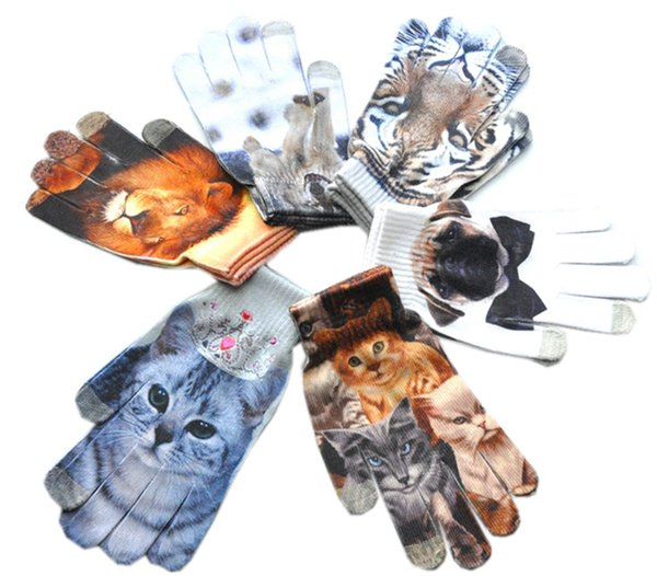 Touch Screen Gloves 3D Animal Pattern Mittens Capacitive Digital Print Women Warm Outdoor Sports Gloves 12 Colors Knitted Xmas Female Styles