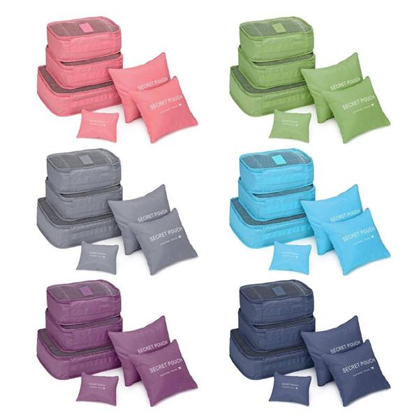 6 pezzi / set borse pieghevoli quadrati di stoccaggio bagagli vestiti Underware organizzatore caso custodia per viaggi impermeabile uomini donne borse da viaggio in nylon