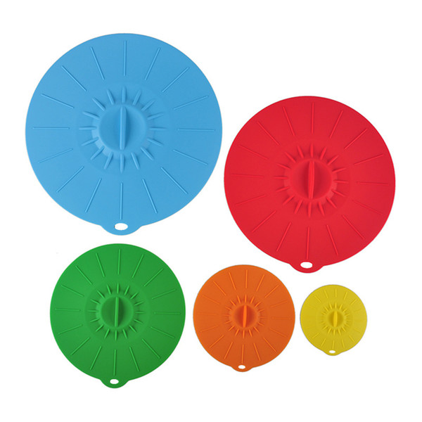 New Creative 5Pcs/Set Universal Silicone Suction Lid-bowl Pan Cooking Pot Lid-Silicon Stretch Silicone Cover Kitchen Pan Spill Lid Stopper