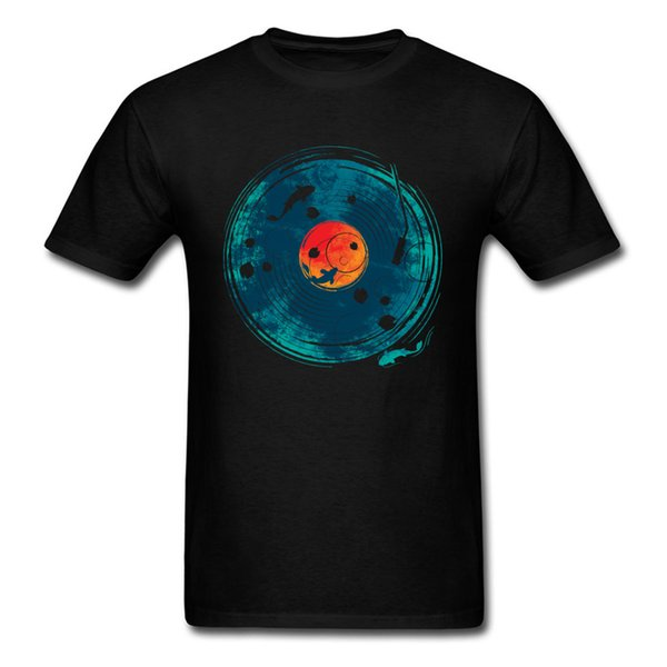 Sound Of Water T-shirt Art Designer T Shirt Men Tshirt Retro Black Blue Tops Koi Fish Clothes Lover Lucky Birthday Gift Cotton